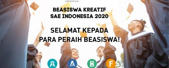 Pengumuman Pemenang Beasiswa Kreatif SAE Indonesia 2020